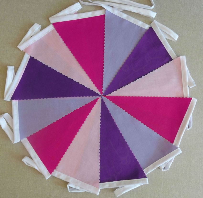 BUNTING Plain Cerise, Pink, Purple & Lilac - Wedding Birthday Party - 3m, 5m or 10m